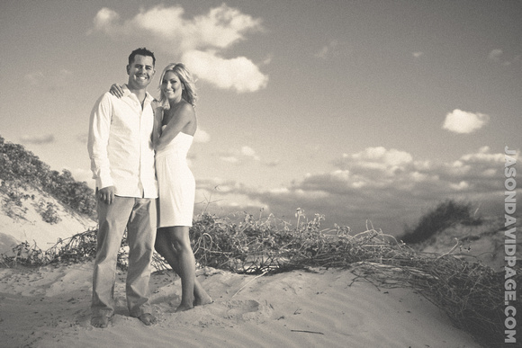 Padre Island beach engagement session in the sand dunes