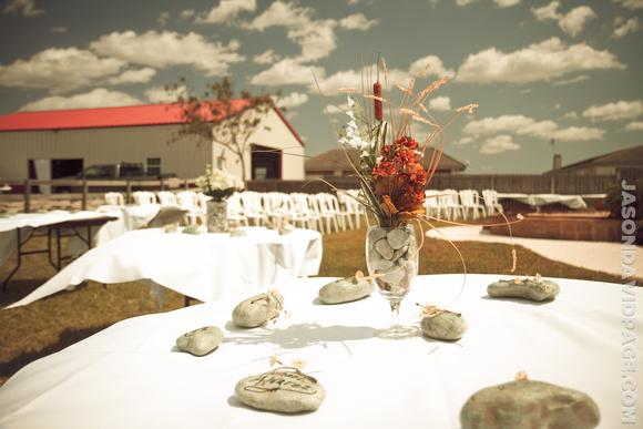 Wedding table decorations at farm wedding near Portland, Texas