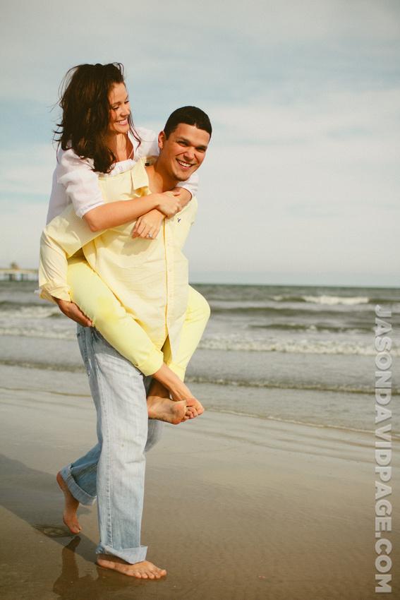Engagement session near Bob Hall Pier on Padre Island beach