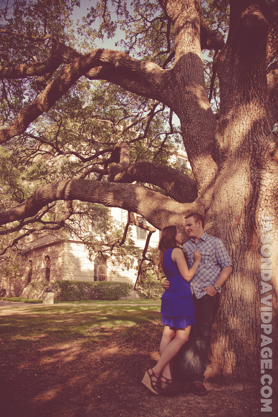 College Station engagement session photography by Jason Page at the Century Tree