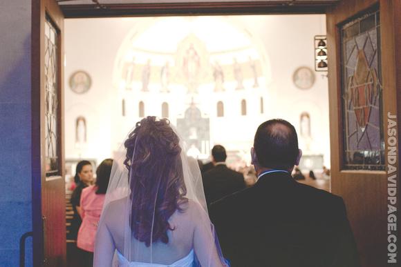 Janice waiting to walk aisle by Corpus Christi wedding photographer Jason Page