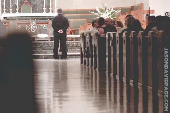 Tim standing at altar by Corpus Christi wedding photographer Jason Page
